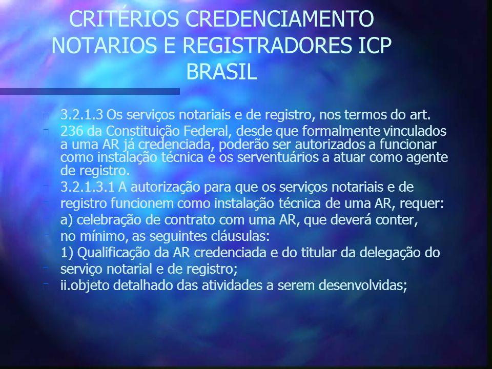 CRITÉRIOS CREDENCIAMENTO NOTARIOS E REGISTRADORES ICP BRASIL n 3.2.1.3 Os serviços notariais e de registro, nos termos do art.