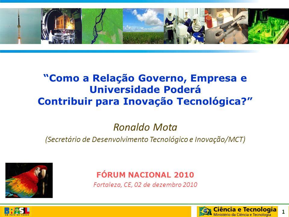 1 Como a Relação Governo, Empresa e Universidade Poderá Contribuir para Inovação Tecnológica? Ronaldo Mota (Secretário de Desenvolvimento Tecnológico