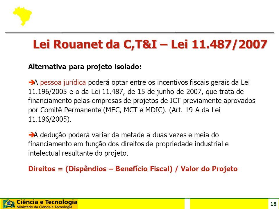 18 Lei Rouanet da C,T&I – Lei 11.487/2007 Alternativa para projeto isolado: è A pessoa jurídica poderá optar entre os incentivos fiscais gerais da Lei