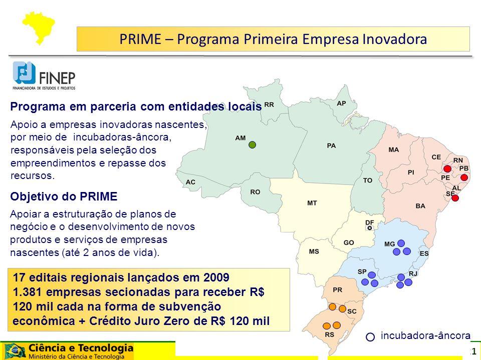 21 PRIME – Programa Primeira Empresa Inovadora incubadora-âncora Apoio a empresas inovadoras nascentes, por meio de incubadoras-âncora, responsáveis p