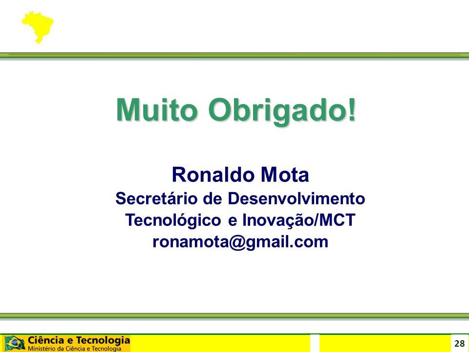 28 Muito Obrigado! Ronaldo Mota Secretário de Desenvolvimento Tecnológico e Inovação/MCT ronamota@gmail.com
