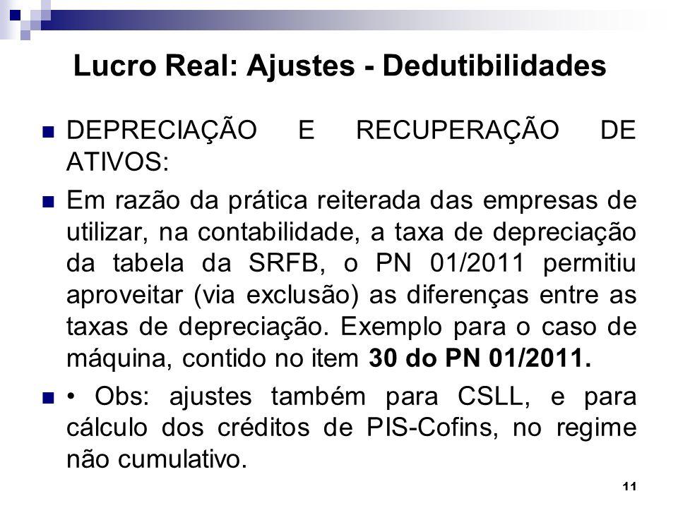 11 DEPRECIAÇÃO E RECUPERAÇÃO DE ATIVOS: Em razão da prática reiterada das empresas de utilizar, na contabilidade, a taxa de depreciação da tabela da S