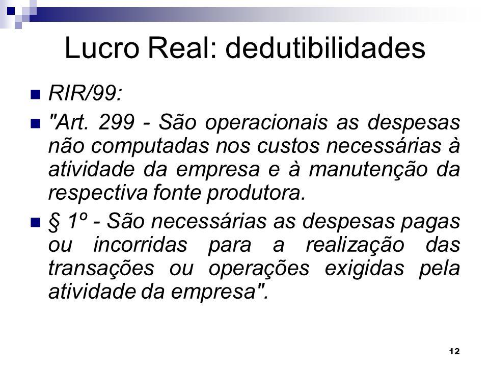 12 Lucro Real: dedutibilidades RIR/99: