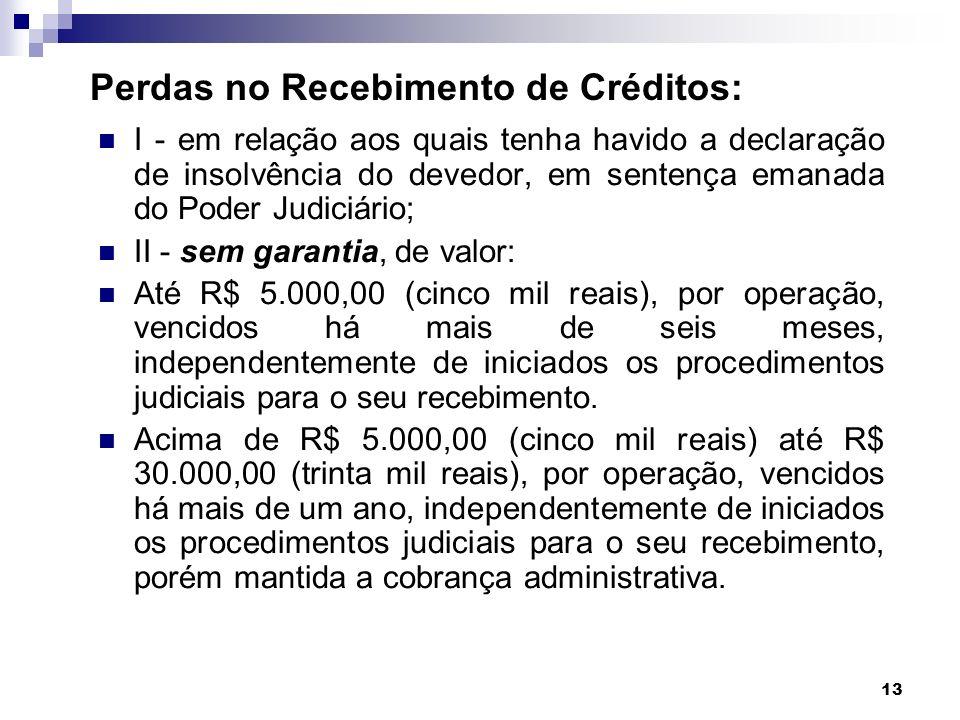 13 Perdas no Recebimento de Créditos: I - em relação aos quais tenha havido a declaração de insolvência do devedor, em sentença emanada do Poder Judic