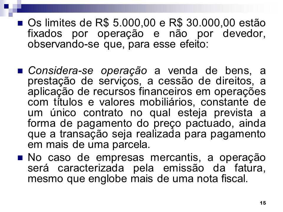 15 Os limites de R$ 5.000,00 e R$ 30.000,00 estão fixados por operação e não por devedor, observando-se que, para esse efeito: Considera-se operação a