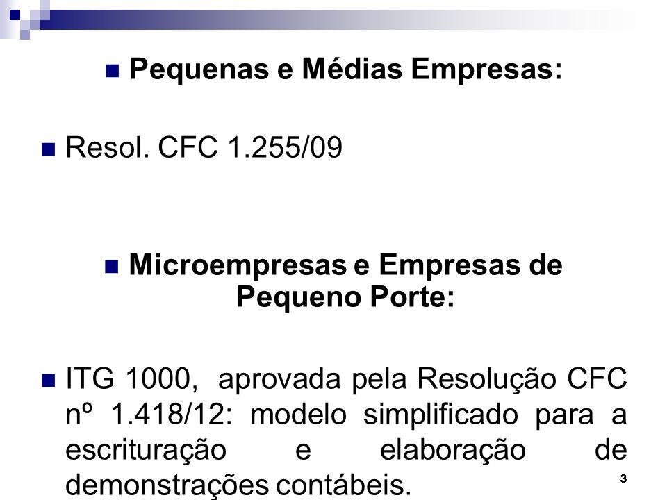 3 Pequenas e Médias Empresas: Resol. CFC 1.255/09 Microempresas e Empresas de Pequeno Porte: ITG 1000, aprovada pela Resolução CFC nº 1.418/12: modelo
