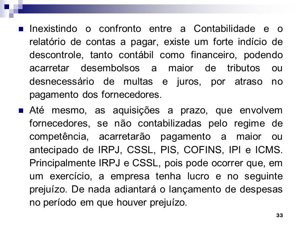 33 Inexistindo o confronto entre a Contabilidade e o relatório de contas a pagar, existe um forte indício de descontrole, tanto contábil como financei