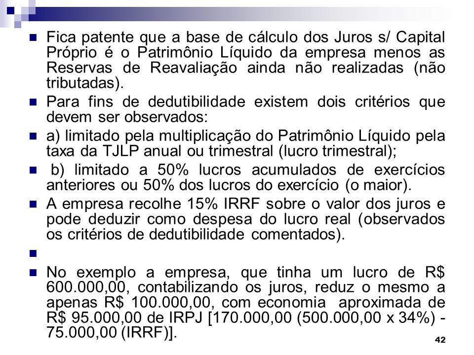 42 Fica patente que a base de cálculo dos Juros s/ Capital Próprio é o Patrimônio Líquido da empresa menos as Reservas de Reavaliação ainda não realiz