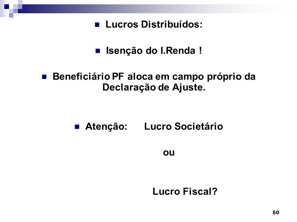 50 Lucros Distribuídos: Isenção do I.Renda ! Beneficiário PF aloca em campo próprio da Declaração de Ajuste. Atenção: Lucro Societário ou Lucro Fiscal
