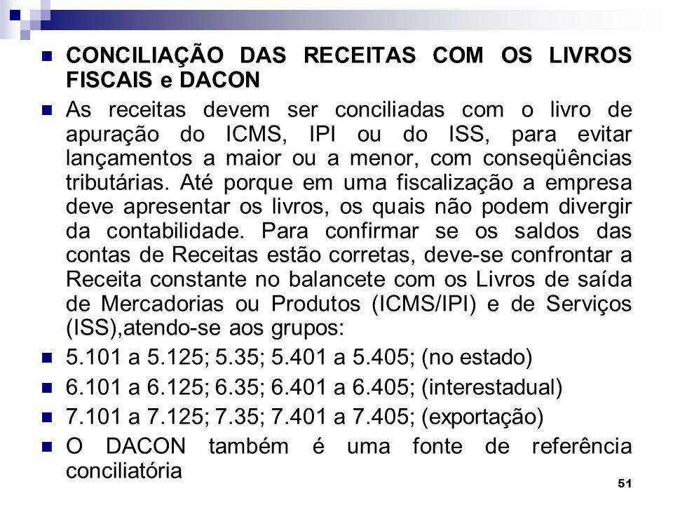 51 CONCILIAÇÃO DAS RECEITAS COM OS LIVROS FISCAIS e DACON As receitas devem ser conciliadas com o livro de apuração do ICMS, IPI ou do ISS, para evita