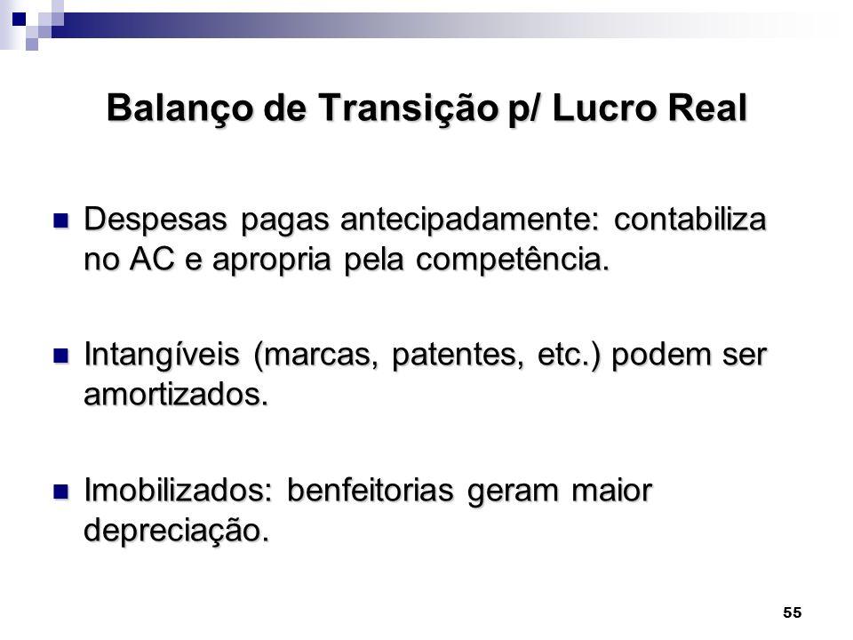 55 Balanço de Transição p/ Lucro Real Despesas pagas antecipadamente: contabiliza no AC e apropria pela competência. Despesas pagas antecipadamente: c