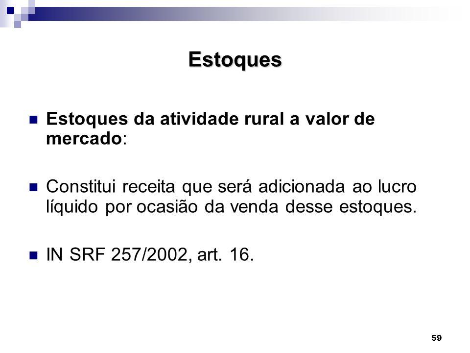 59 Estoques Estoques da atividade rural a valor de mercado: Constitui receita que será adicionada ao lucro líquido por ocasião da venda desse estoques
