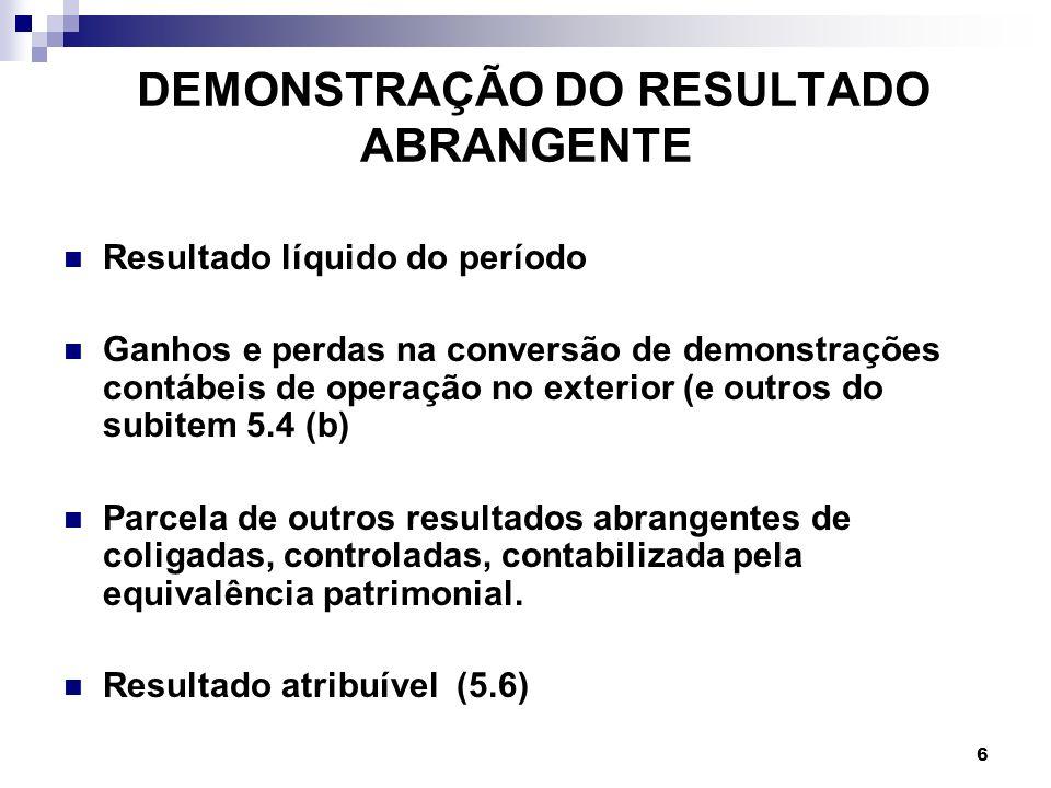 6 DEMONSTRAÇÃO DO RESULTADO ABRANGENTE Resultado líquido do período Ganhos e perdas na conversão de demonstrações contábeis de operação no exterior (e