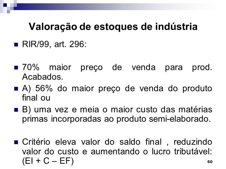 60 Valoração de estoques de indústria RIR/99, art. 296: 70% maior preço de venda para prod. Acabados. A) 56% do maior preço de venda do produto final