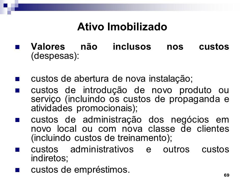 69 Ativo Imobilizado Valores não inclusos nos custos (despesas): custos de abertura de nova instalação; custos de introdução de novo produto ou serviç