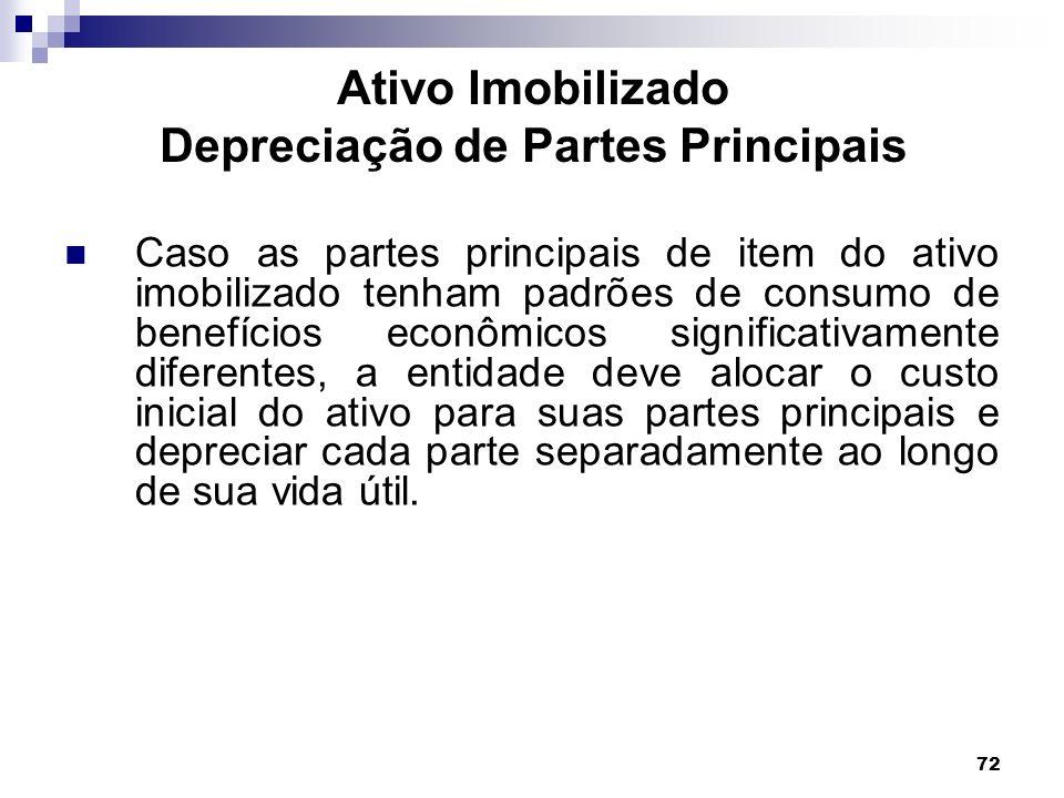 72 Ativo Imobilizado Depreciação de Partes Principais Caso as partes principais de item do ativo imobilizado tenham padrões de consumo de benefícios e