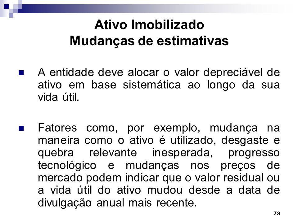 73 Ativo Imobilizado Mudanças de estimativas A entidade deve alocar o valor depreciável de ativo em base sistemática ao longo da sua vida útil. Fatore