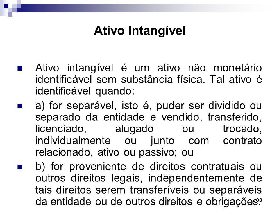 80 Ativo Intangível Ativo intangível é um ativo não monetário identificável sem substância física. Tal ativo é identificável quando: a) for separável,