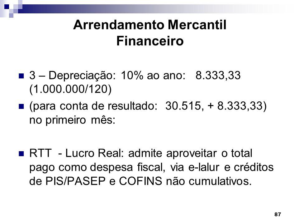 87 Arrendamento Mercantil Financeiro 3 – Depreciação: 10% ao ano: 8.333,33 (1.000.000/120) (para conta de resultado: 30.515, + 8.333,33) no primeiro m