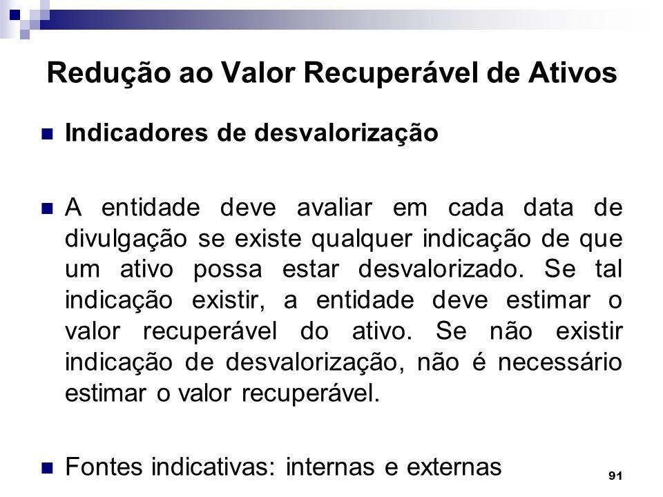 91 Redução ao Valor Recuperável de Ativos Indicadores de desvalorização A entidade deve avaliar em cada data de divulgação se existe qualquer indicaçã