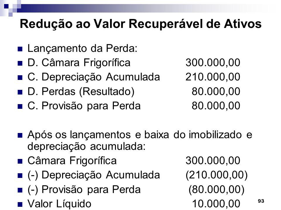 93 Redução ao Valor Recuperável de Ativos Lançamento da Perda: D. Câmara Frigorífica 300.000,00 C. Depreciação Acumulada210.000,00 D. Perdas (Resultad