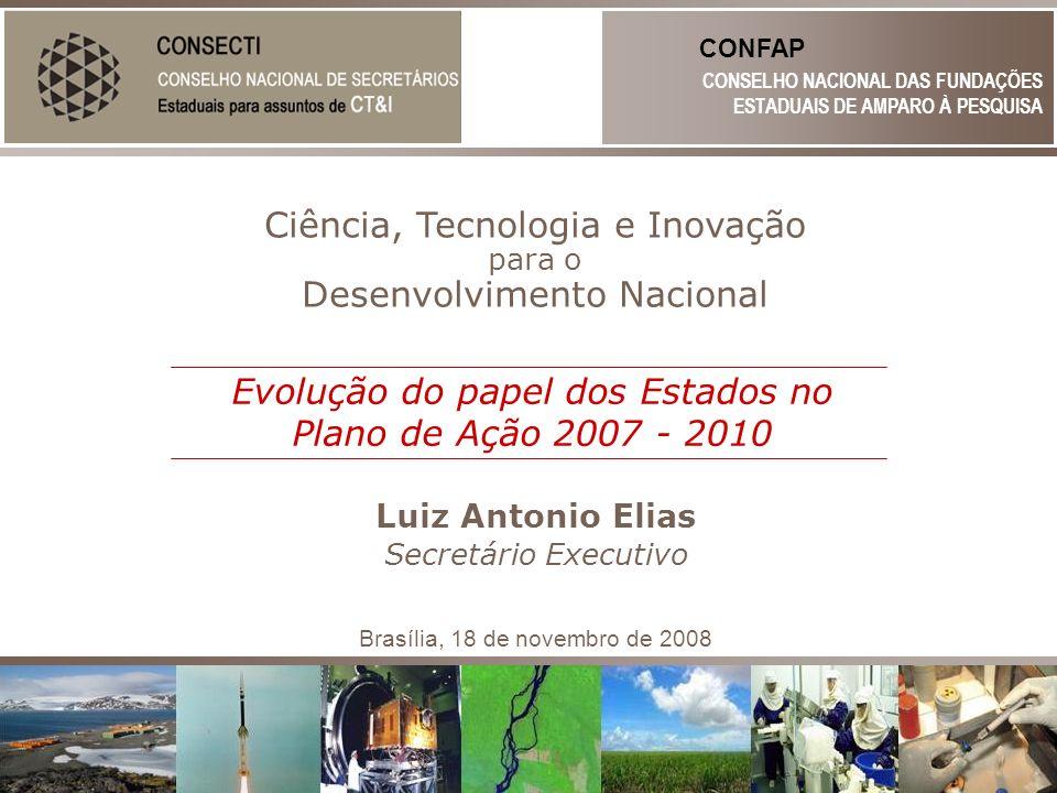 Ciência, Tecnologia e Inovação para o Desenvolvimento Nacional Luiz Antonio Elias CONSELHO NACIONAL DAS FUNDAÇÕES ESTADUAIS DE AMPARO À PESQUISA CONFA