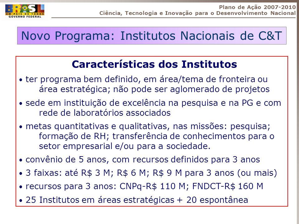 Novo Programa: Institutos Nacionais de C&T Características dos Institutos ter programa bem definido, em área/tema de fronteira ou área estratégica; nã