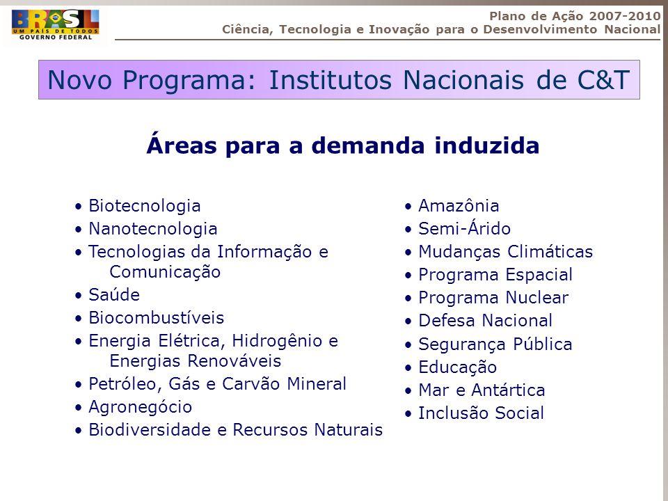 Novo Programa: Institutos Nacionais de C&T Áreas para a demanda induzida Biotecnologia Nanotecnologia Tecnologias da Informação e Comunicação Saúde Bi