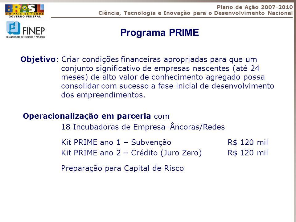 Programa PRIME Objetivo: Criar condições financeiras apropriadas para que um conjunto significativo de empresas nascentes (até 24 meses) de alto valor