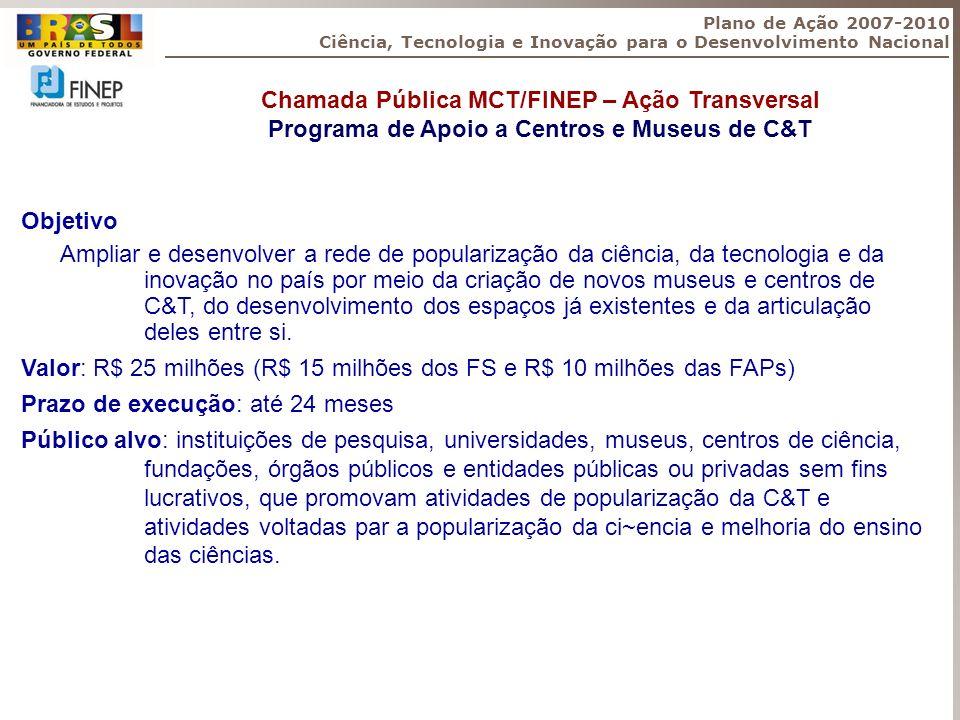 Objetivo Ampliar e desenvolver a rede de popularização da ciência, da tecnologia e da inovação no país por meio da criação de novos museus e centros d