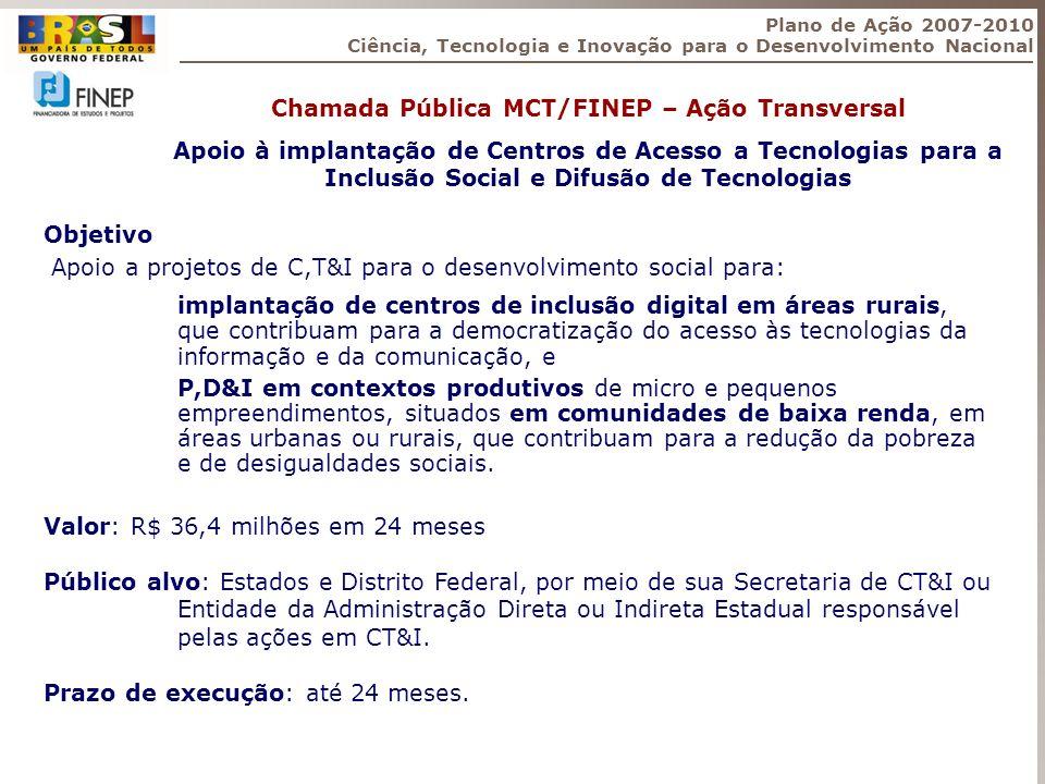 Objetivo Apoio a projetos de C,T&I para o desenvolvimento social para: implantação de centros de inclusão digital em áreas rurais, que contribuam para