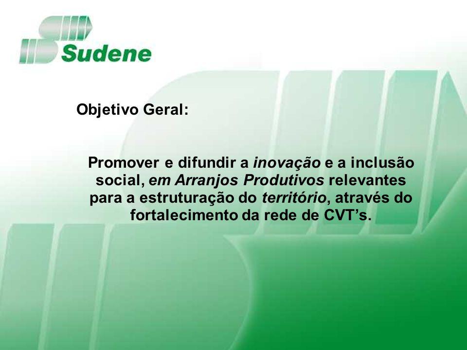 Objetivo Geral: Promover e difundir a inovação e a inclusão social, em Arranjos Produtivos relevantes para a estruturação do território, através do fortalecimento da rede de CVTs.