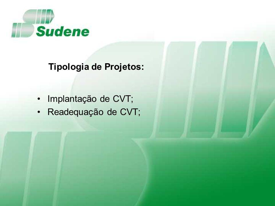 Implantação de CVT; Readequação de CVT; Tipologia de Projetos: