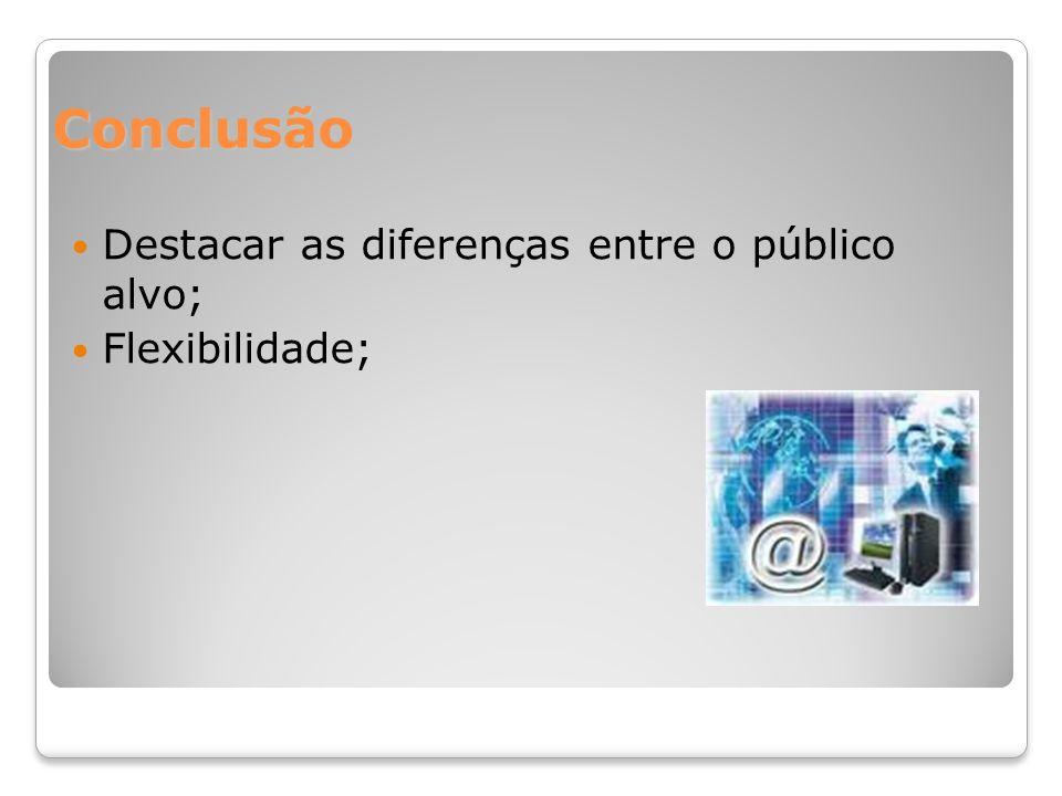 Conclusão Destacar as diferenças entre o público alvo; Flexibilidade;