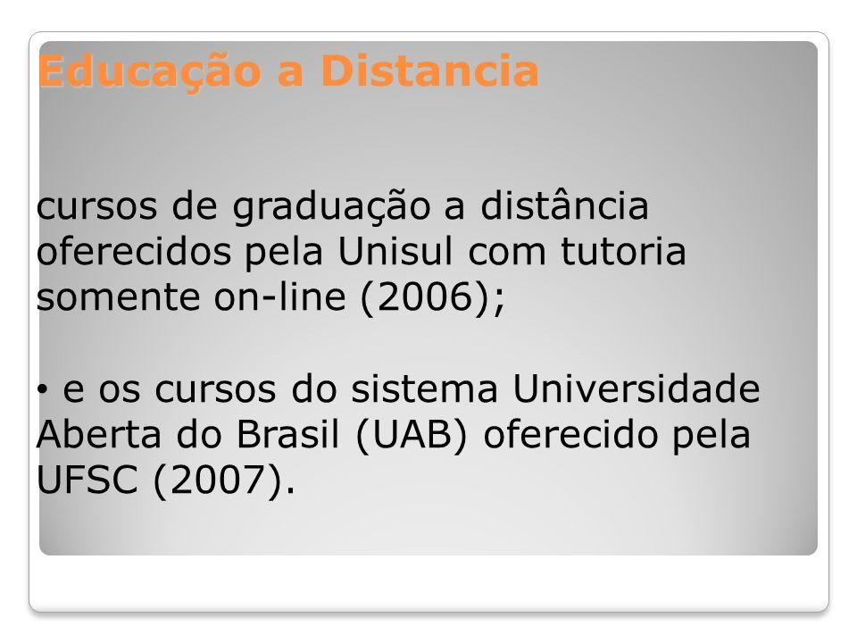 Educação a Distancia cursos de graduação a distância oferecidos pela Unisul com tutoria somente on-line (2006); e os cursos do sistema Universidade Ab