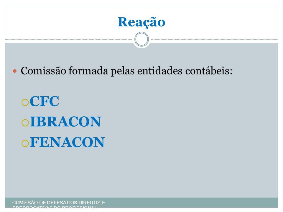 Reação COMISSÃO DE DEFESA DOS DIREITOS E PRERROGATIVAS DO PROFISSIONAL CONTÁBIL Comissão formada pelas entidades contábeis: CFC IBRACON FENACON