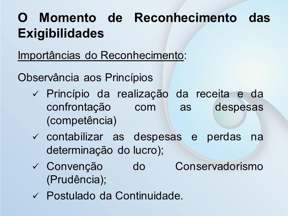 O Momento de Reconhecimento das Exigibilidades Importâncias do Reconhecimento: Observância aos Princípios Princípio da realização da receita e da conf