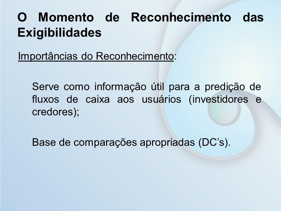 Importâncias do Reconhecimento: Serve como informação útil para a predição de fluxos de caixa aos usuários (investidores e credores); Base de comparaç