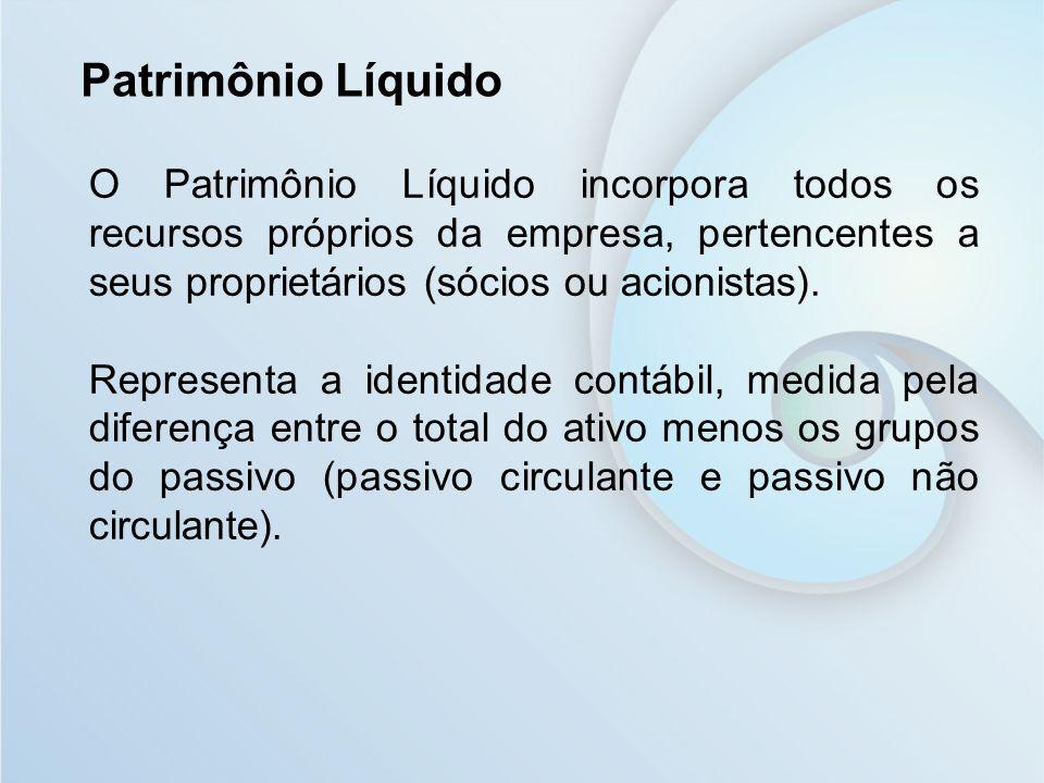 O Patrimônio Líquido incorpora todos os recursos próprios da empresa, pertencentes a seus proprietários (sócios ou acionistas). Representa a identidad