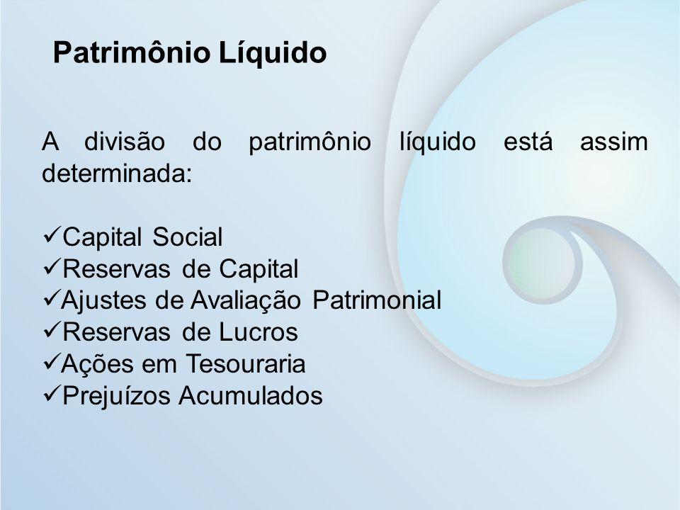 A divisão do patrimônio líquido está assim determinada: Capital Social Reservas de Capital Ajustes de Avaliação Patrimonial Reservas de Lucros Ações e