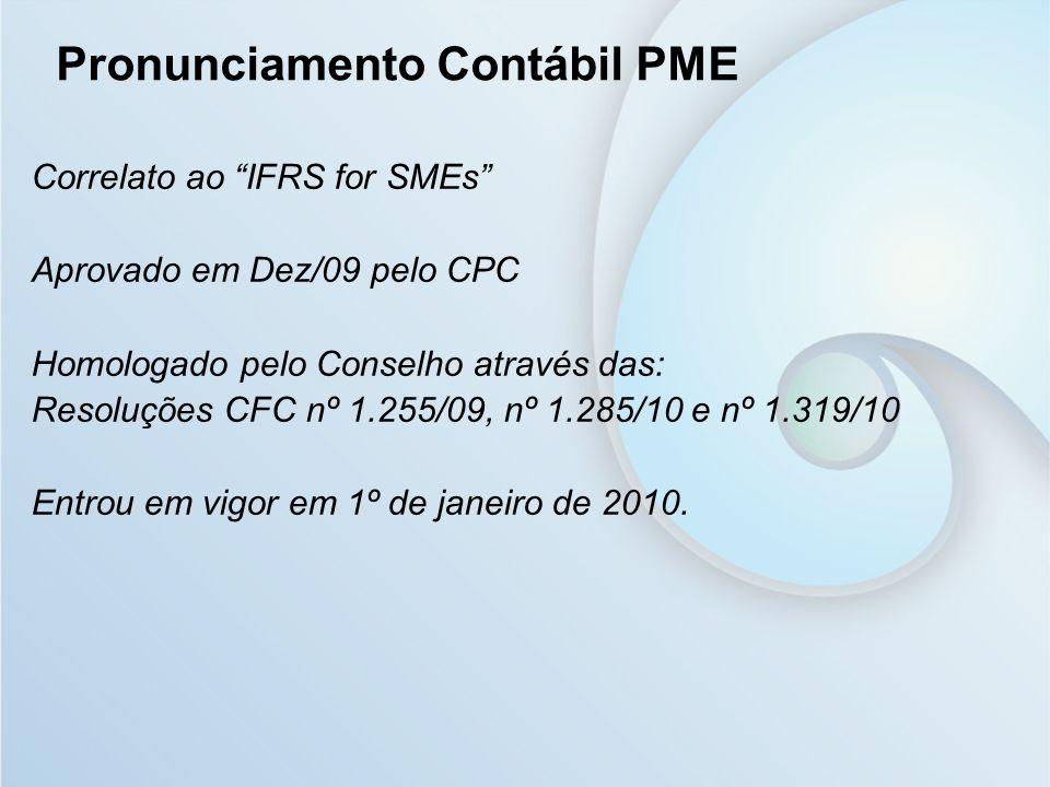 Correlato ao IFRS for SMEs Aprovado em Dez/09 pelo CPC Homologado pelo Conselho através das: Resoluções CFC nº 1.255/09, nº 1.285/10 e nº 1.319/10 Ent