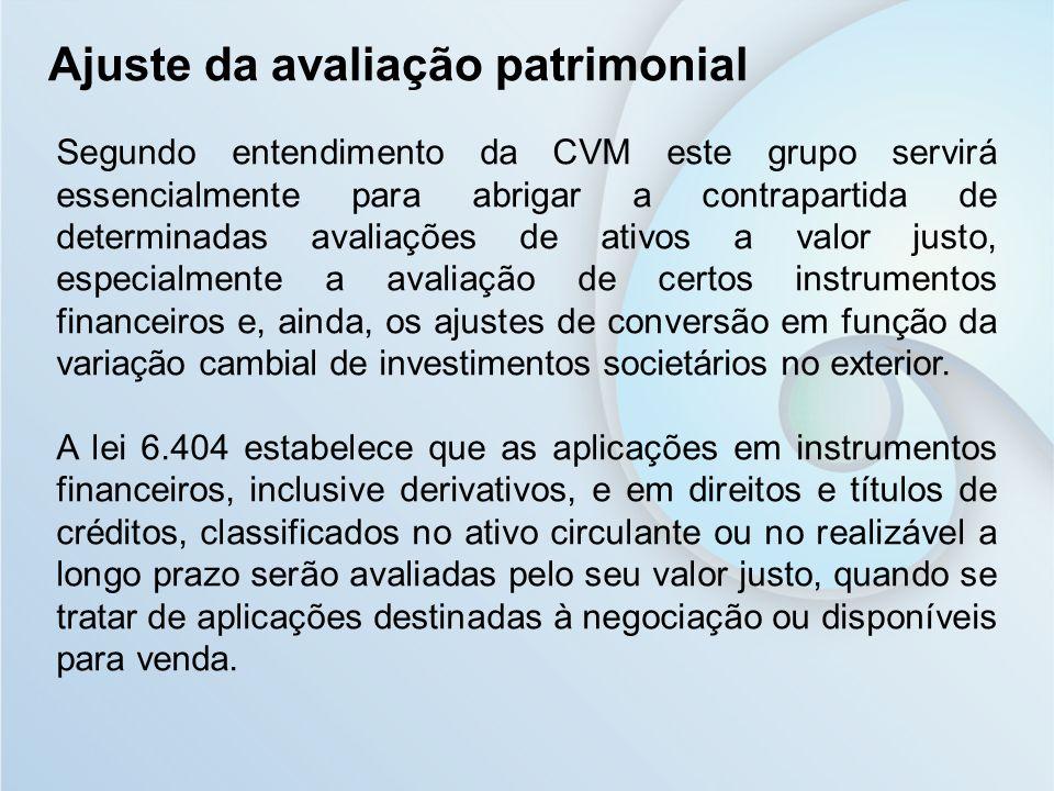 Segundo entendimento da CVM este grupo servirá essencialmente para abrigar a contrapartida de determinadas avaliações de ativos a valor justo, especia