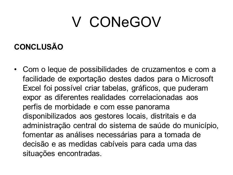 V CONeGOV CONCLUSÃO Com o leque de possibilidades de cruzamentos e com a facilidade de exportação destes dados para o Microsoft Excel foi possível cri