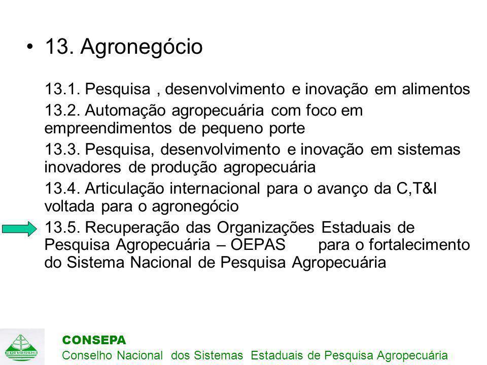 CONSEPA Conselho Nacional dos Sistemas Estaduais de Pesquisa Agropecuária 13.