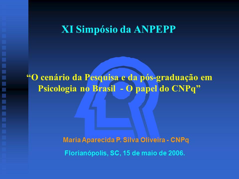 XI Simpósio da ANPEPP Maria Aparecida P. Silva Oliveira - CNPq O cenário da Pesquisa e da pós-graduação em Psicologia no Brasil - O papel do CNPq Flor