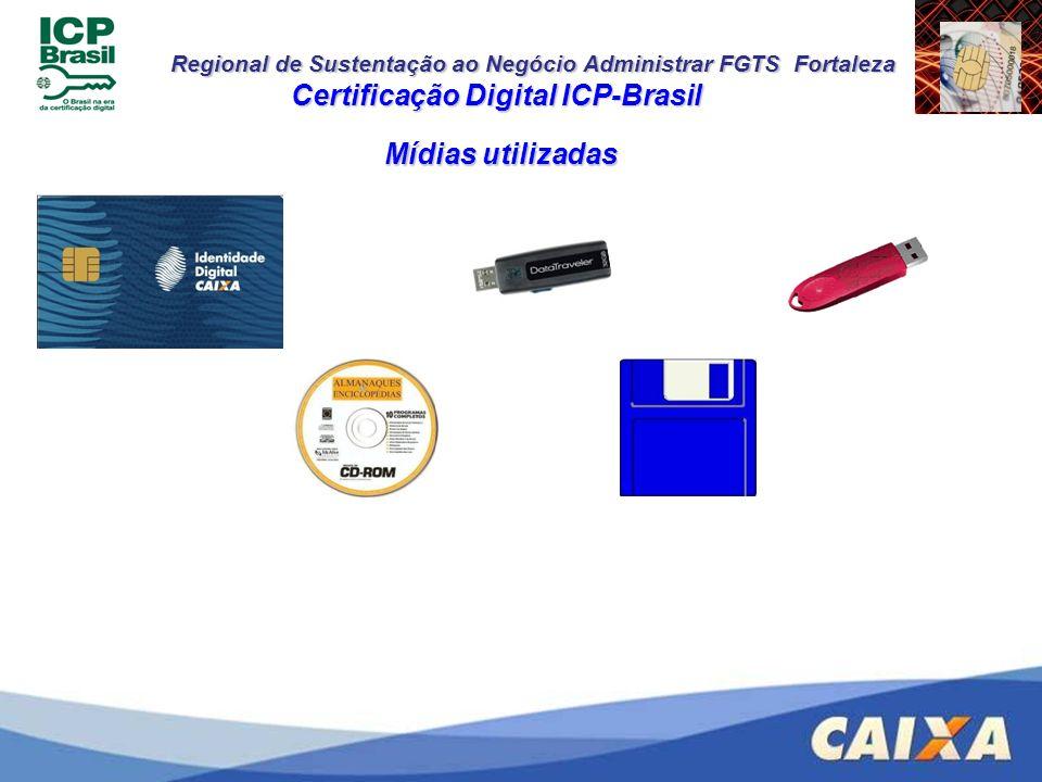 Regional de Sustentação ao Negócio Administrar FGTS Fortaleza Mídias utilizadas Certificação Digital ICP-Brasil