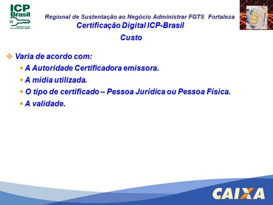 Regional de Sustentação ao Negócio Administrar FGTS Fortaleza Custo Certificação Digital ICP-Brasil Varia de acordo com: Varia de acordo com: A Autori