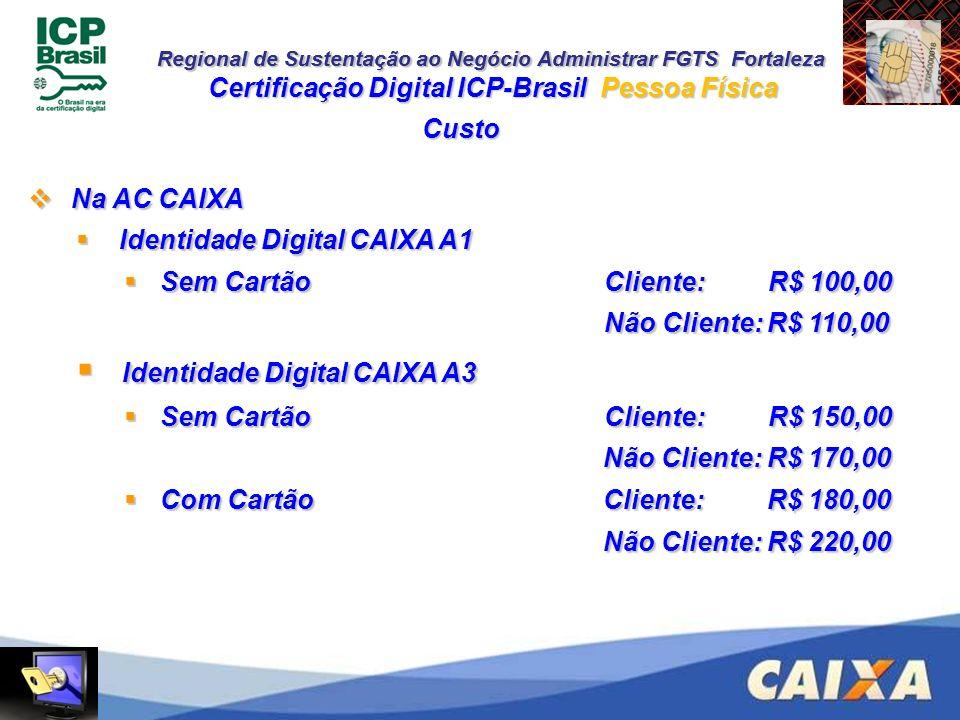 Regional de Sustentação ao Negócio Administrar FGTS Fortaleza Custo Certificação Digital ICP-Brasil Pessoa Física Na AC CAIXA Na AC CAIXA Identidade D