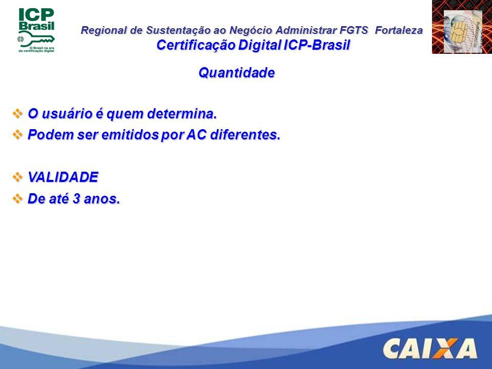 Regional de Sustentação ao Negócio Administrar FGTS Fortaleza Quantidade Certificação Digital ICP-Brasil O usuário é quem determina. O usuário é quem