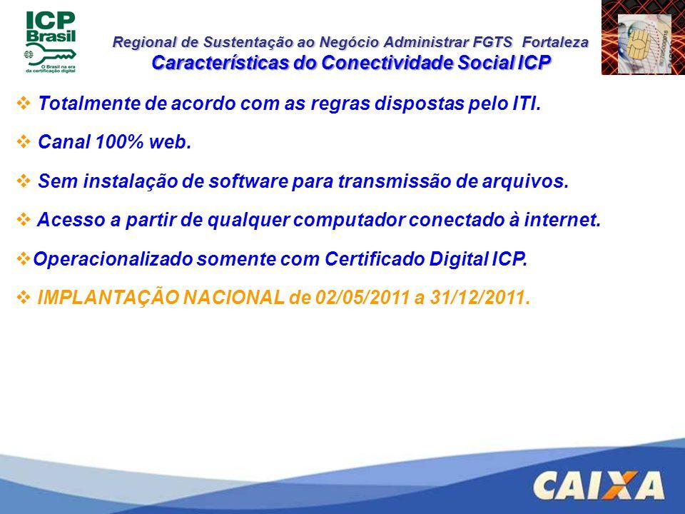 Regional de Sustentação ao Negócio Administrar FGTS Fortaleza Características do Conectividade Social ICP Totalmente de acordo com as regras dispostas